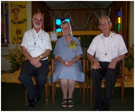 Sister M. Vivette with the two priests