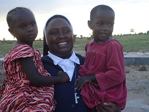 Sister Mary Magdalene with Massai children in Tanzania