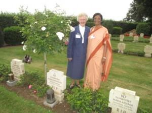 Sr.M.Joell and Sr.M.Sujita at the tomb of Sr.M.Raphaelita